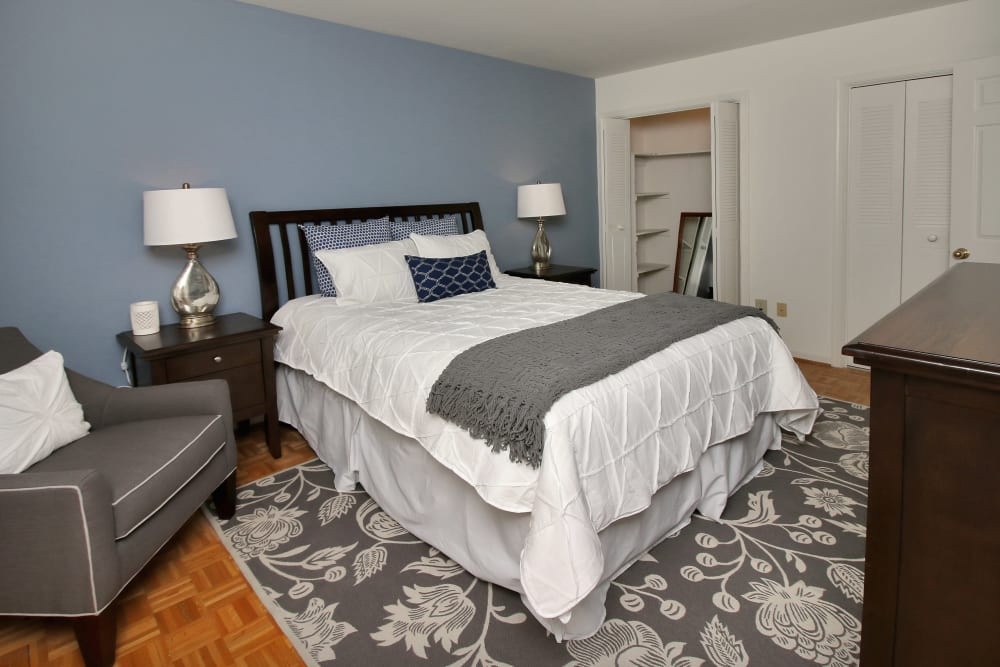 Well decorated bedroom at Legacy at Tech Center in Newport News, Virginia