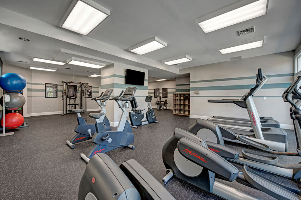 State of the art fitness center equipment at Howard Crossing in Ellicott City, Maryland features exercise balls, treadmills and more