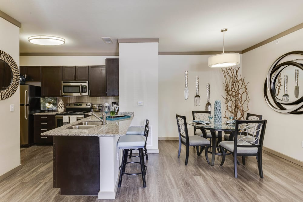 Hardwood floors throughout the living area of a model home at Tacara at Westover Hills in San Antonio, Texas