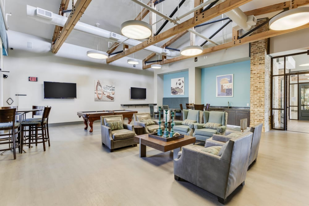 Luxurious game room in the clubhouse at Tacara at Westover Hills in San Antonio, Texas