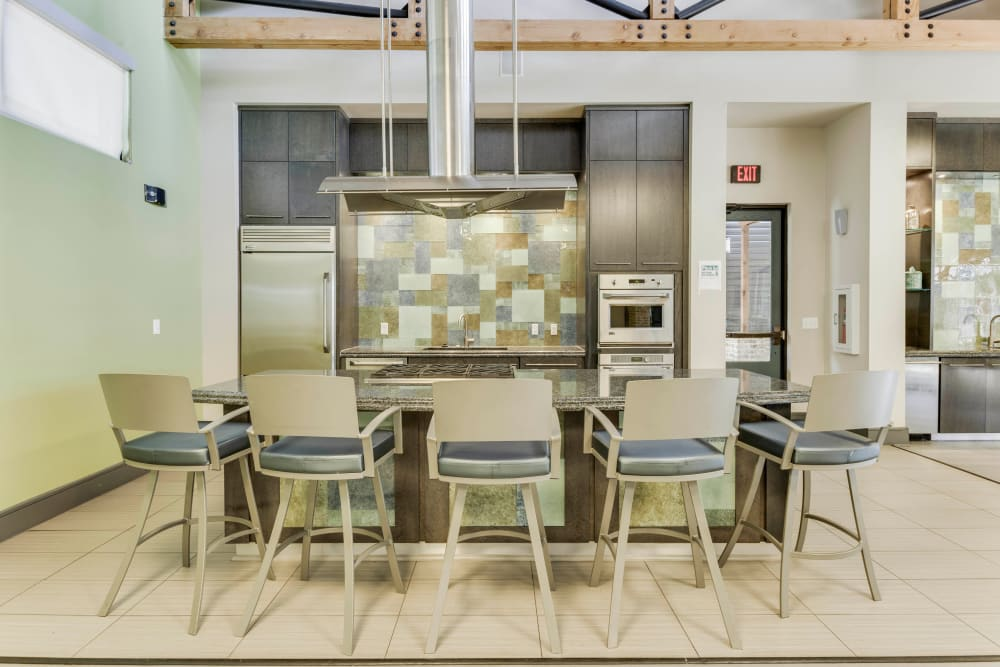 Demonstration kitchen in the clubhouse at Tacara at Westover Hills in San Antonio, Texas