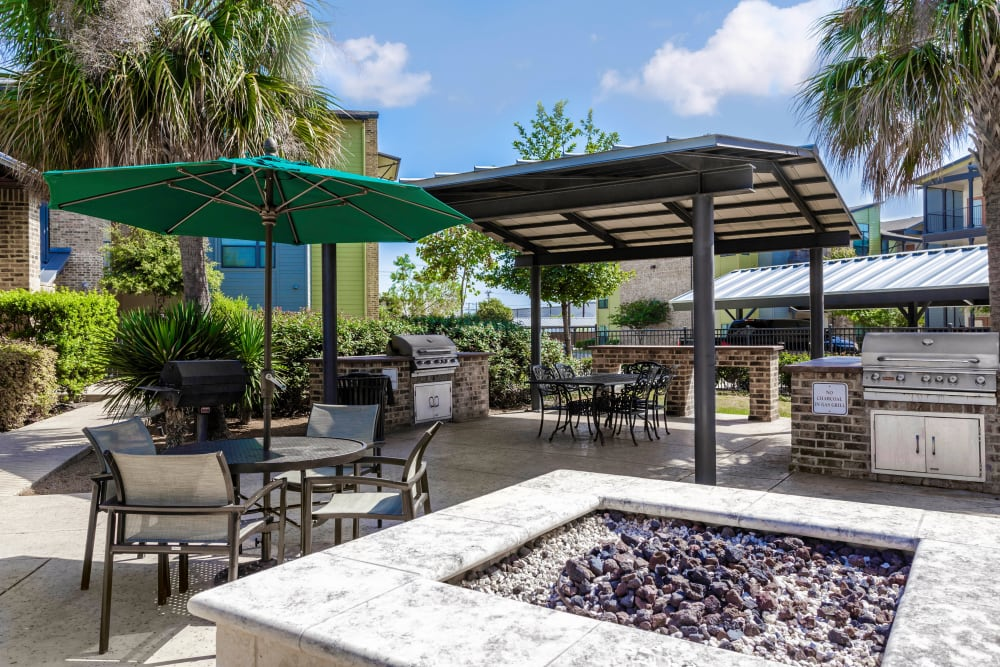 Fire pit area at Tacara at Westover Hills in San Antonio, Texas