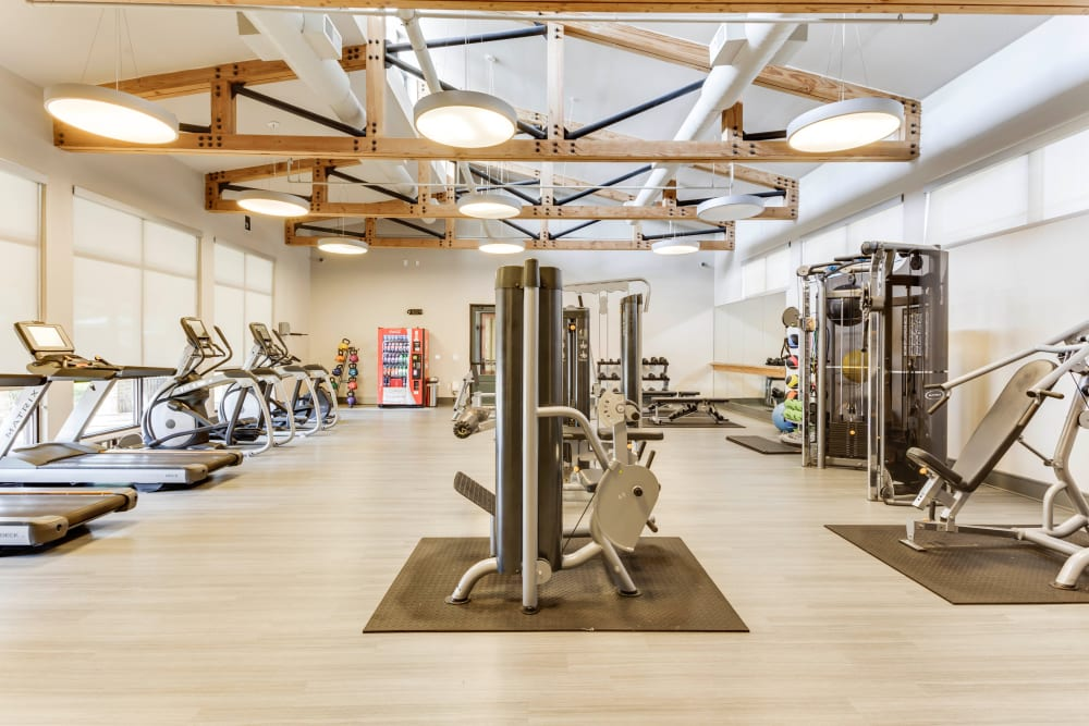 Well-equipped onsite fitness center at Tacara at Westover Hills in San Antonio, Texas