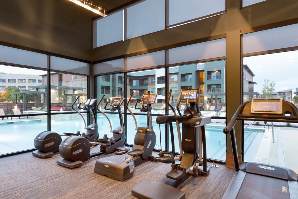 State-of-the-art cardio equipment in the fitness center at The Davis in Fort Worth, Texas