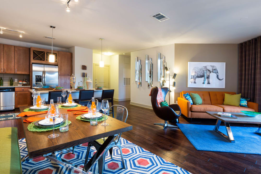 Very well-furnished model home's living areas at The Davis in Fort Worth, Texas