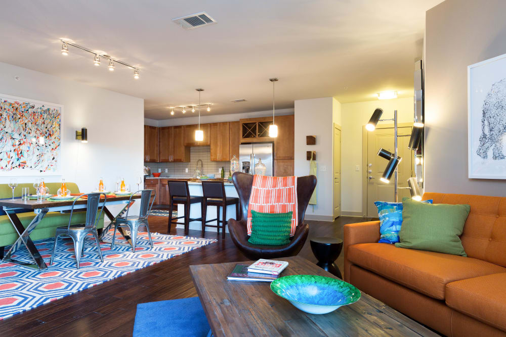 Well-furnished model home's living areas at The Davis in Fort Worth, Texas