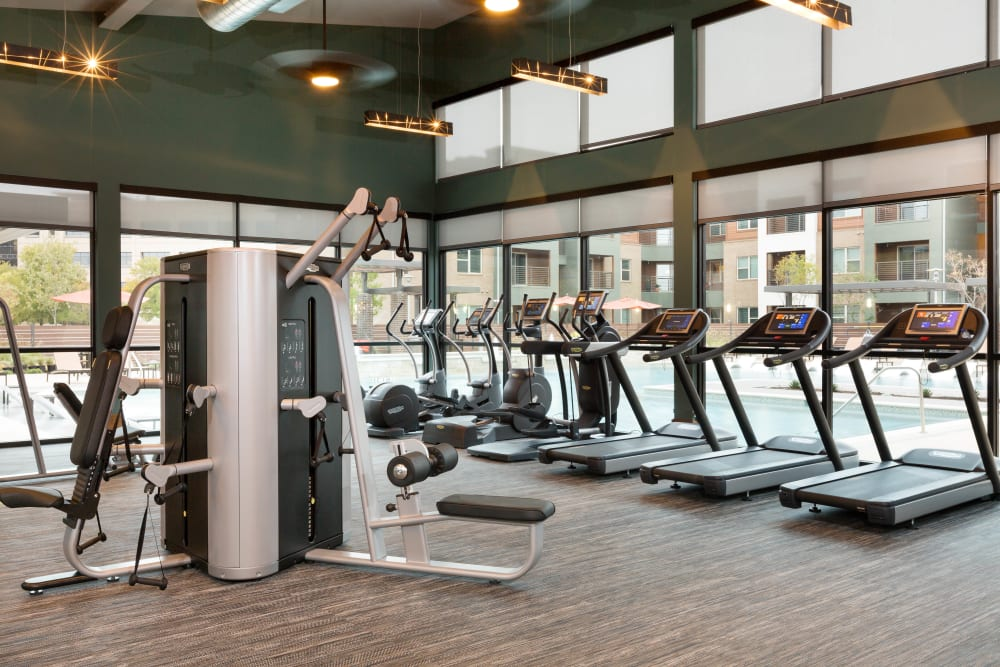 Well-equipped onsite fitness center at The Davis in Fort Worth, Texas
