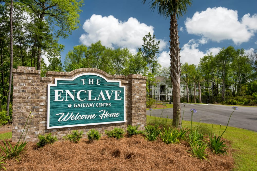 Our monument sign welcoming residents and guests to The Enclave in Brunswick, Georgia