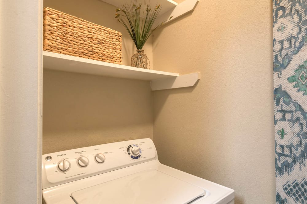 In-unit washer and dryer in a model home at The Ranch at Shadow Lake in Houston, Texas