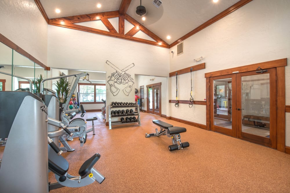 Well-equipped onsite fitness center at The Ranch at Shadow Lake in Houston, Texas