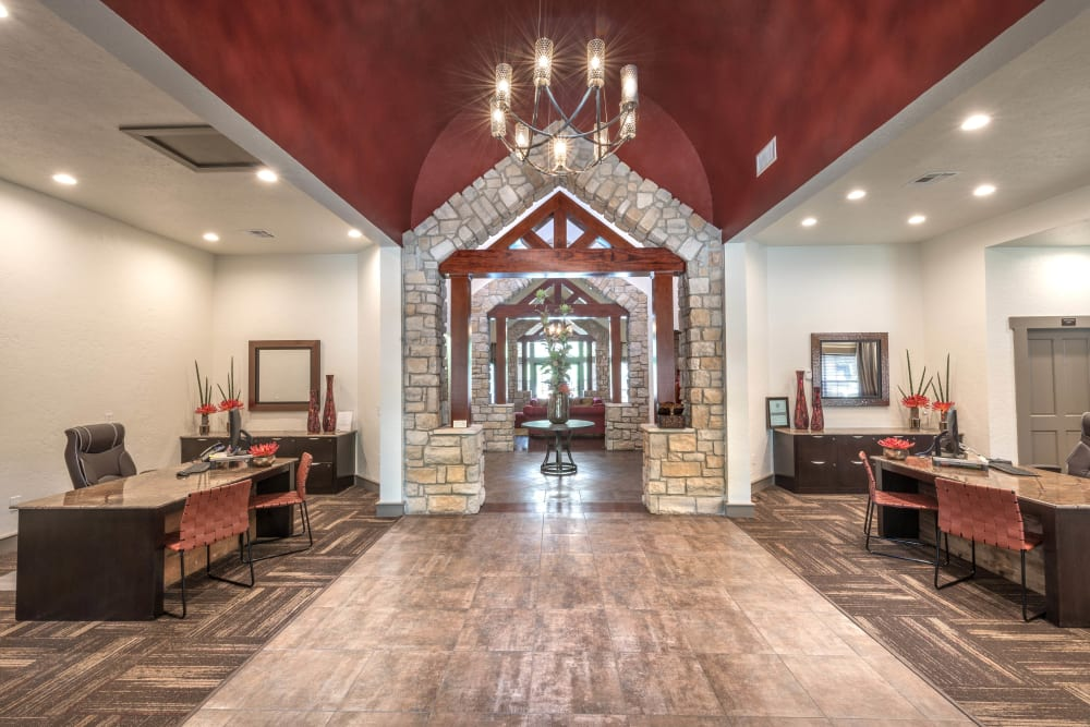 Lavish leasing center interior at The Ranch at Shadow Lake in Houston, Texas