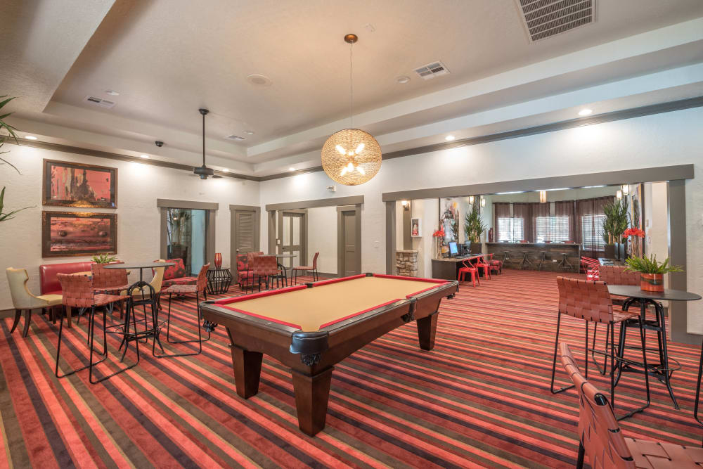 Billiards table and more in the clubhouse game room at The Ranch at Shadow Lake in Houston, Texas