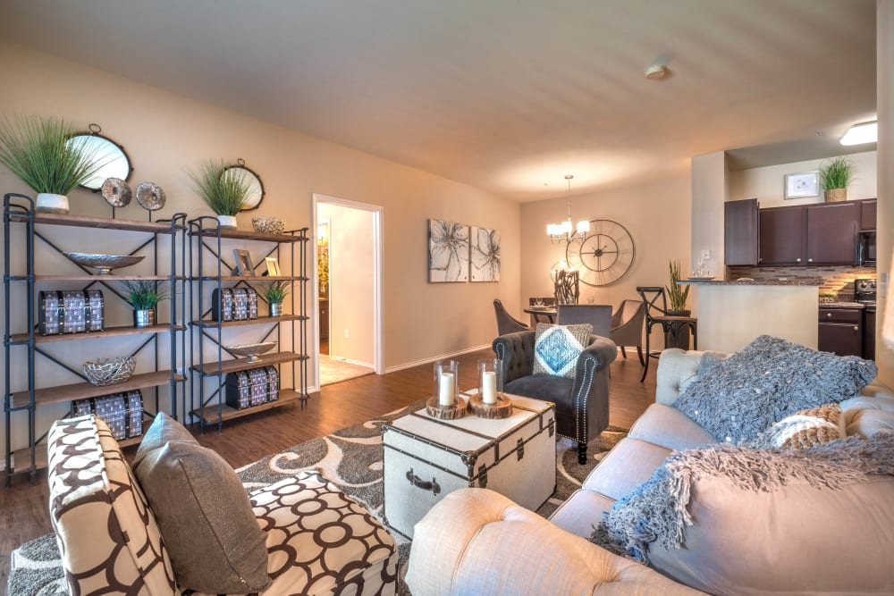 Well-furnished model home's living area at The Ranch at Shadow Lake in Houston, Texas