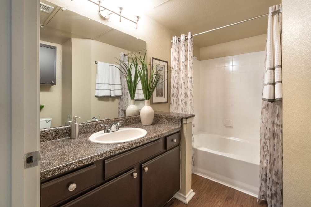 Large vanity mirror and a granite countertop in a model home's bathroom at The Ranch at Shadow Lake in Houston, Texas