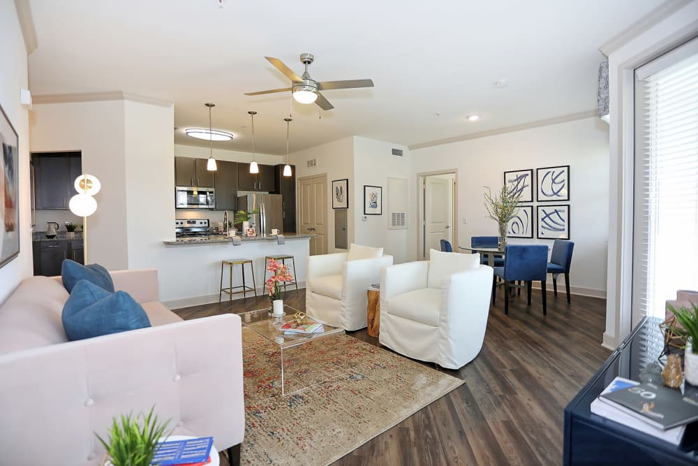 Beautifully decorated open-concept floor plan in a model home at The Slate in Savannah, Georgia