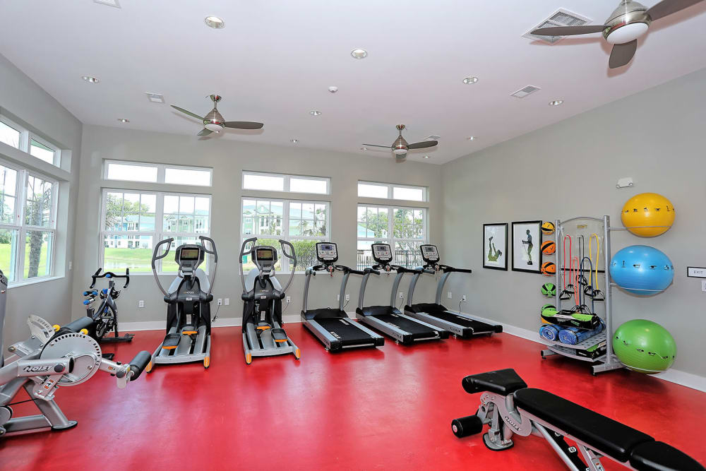 Very well-equipped onsite fitness center at The Slate in Savannah, Georgia