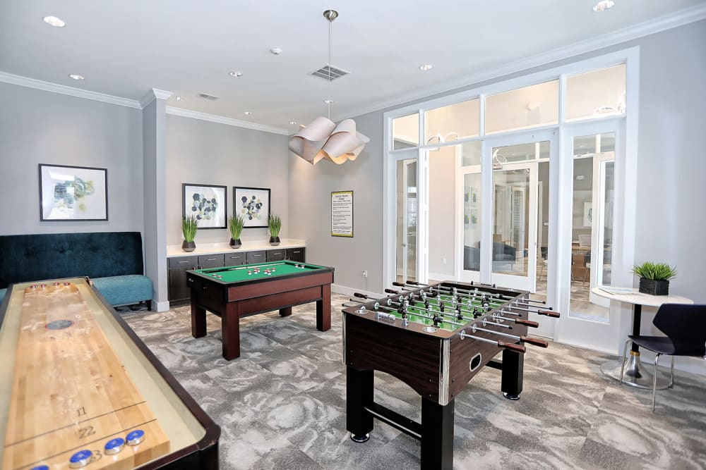 Game room in the clubhouse with foosball and more at The Slate in Savannah, Georgia