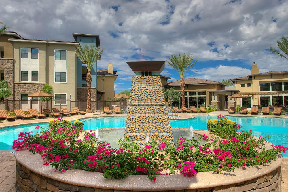 Professionally maintained flora near the pool at Vistara at SanTan Village in Gilbert, Arizona