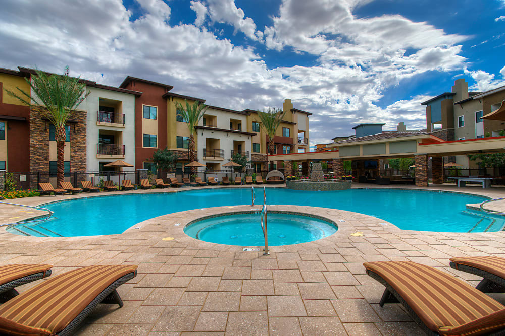 Resort-style swimming pool at Vistara at SanTan Village in Gilbert, Arizona
