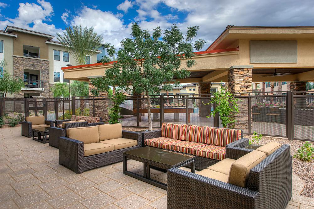 Outdoor lounge at Vistara at SanTan Village in Gilbert, Arizona