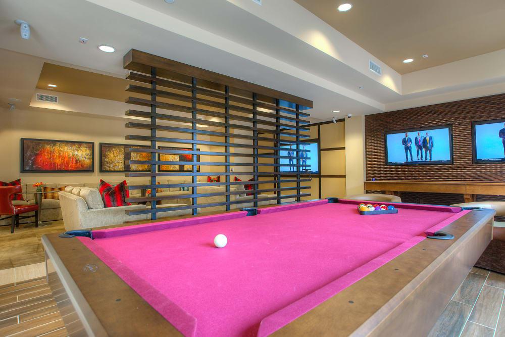 Billiards table in the clubhouse game room at Vistara at SanTan Village in Gilbert, Arizona