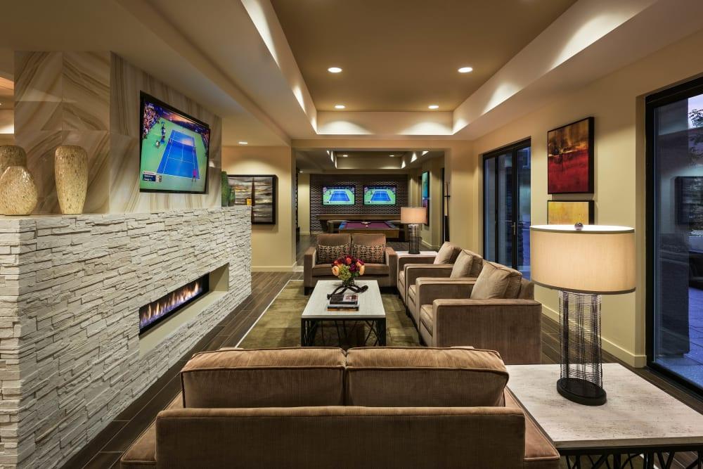 Lavishly furnished resident lounge in the clubhouse at Vistara at SanTan Village in Gilbert, Arizona