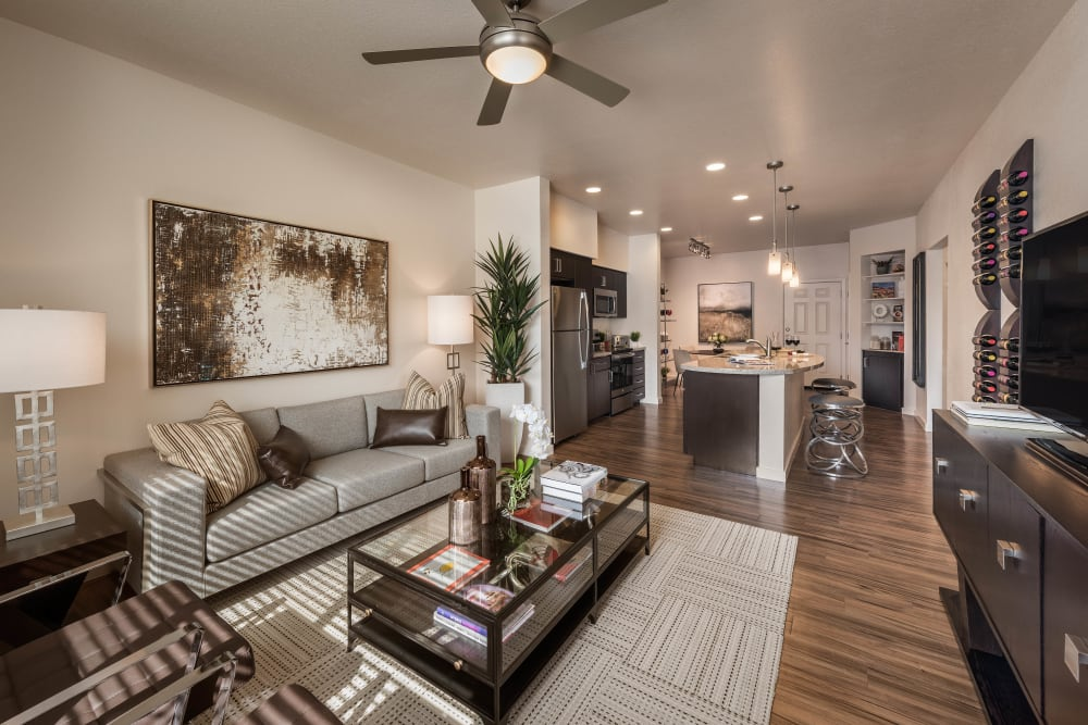 Well-furnished model home's living area at Vistara at SanTan Village in Gilbert, Arizona