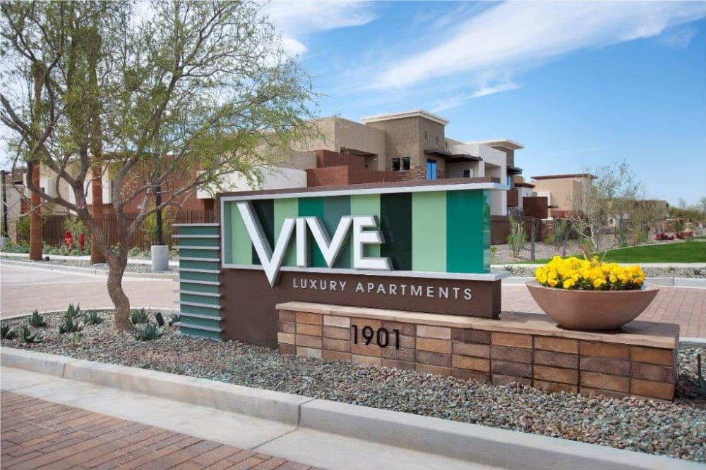 Our sign welcoming residents and guests to Vive in Chandler, Arizona