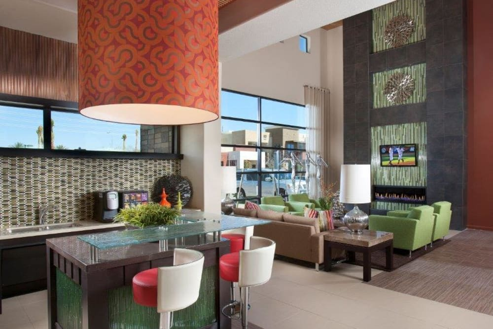 Great places to gather with your friends and neighbors in the clubhouse at Vive in Chandler, Arizona