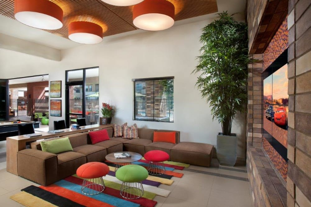 Luxurious furnishings in the resident clubhouse at Vive in Chandler, Arizona