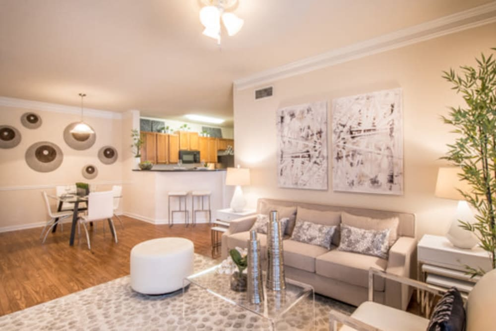 Well-furnished model home's living area at Walden at Chatham Center in Savannah, Georgia