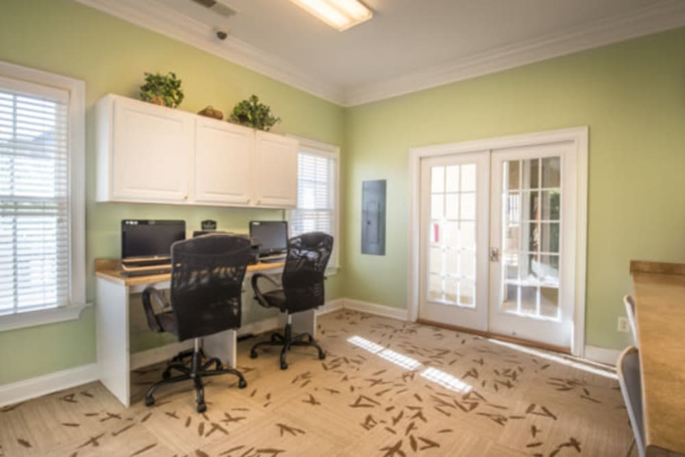 Business center with workstations for resident use at Walden at Chatham Center in Savannah, Georgia