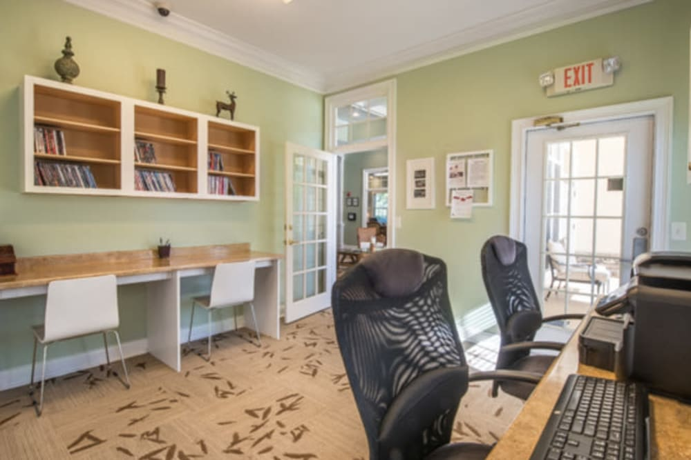 Workstations in the business center at Walden at Chatham Center in Savannah, Georgia