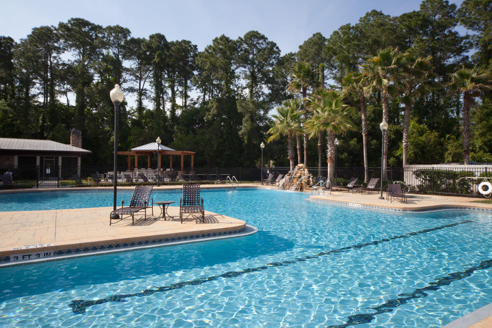 Resort-style swimming pool with underwater lap lanes at Wimberly at Deerwood in Jacksonville, Florida