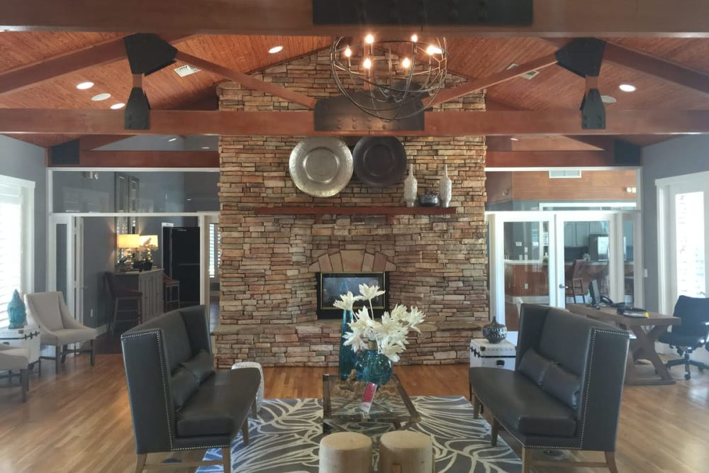 Well-furnished resident lounge in the clubhouse at Wimberly at Deerwood in Jacksonville, Florida