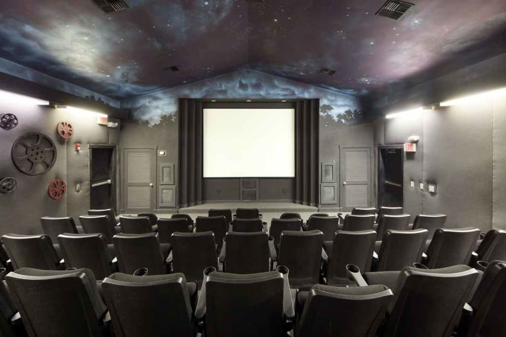 Large onsite movie theater at Wimberly at Deerwood in Jacksonville, Florida