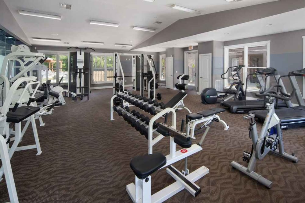 Well-equipped onsite fitness center at Wimberly at Deerwood in Jacksonville, Florida