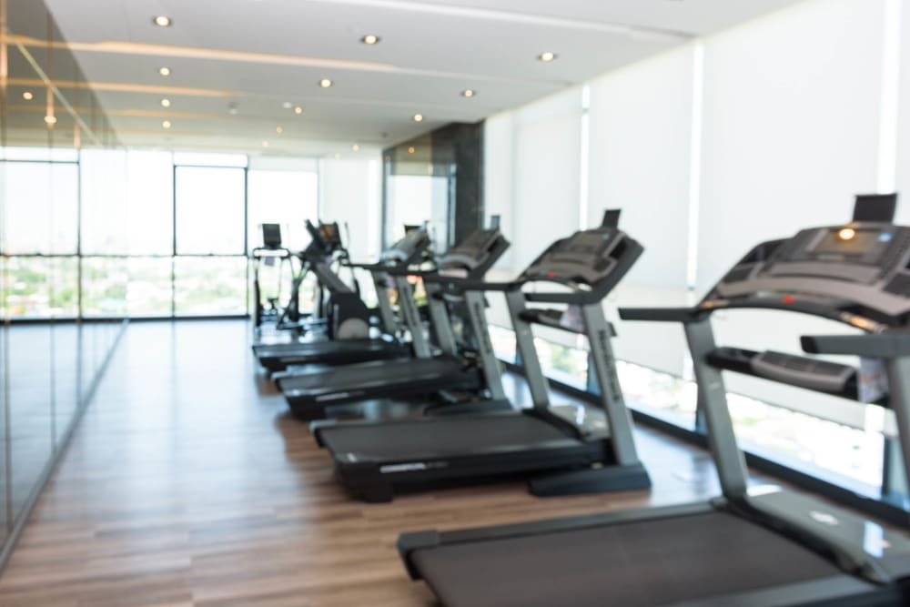 Treadmills in the fitness center at Olympus Court Apartments in Bakersfield, California