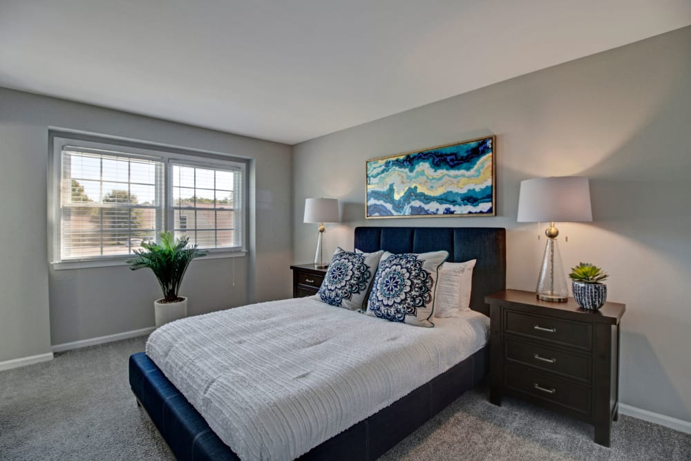 Bright bedroom at Legacy at Tech Center in Newport News, Virginia
