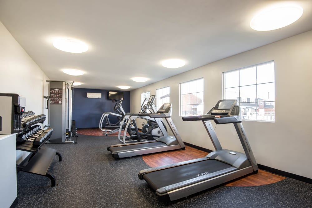 Fitness center with treadmills at Legacy at Tech Center in Newport News, Virginia