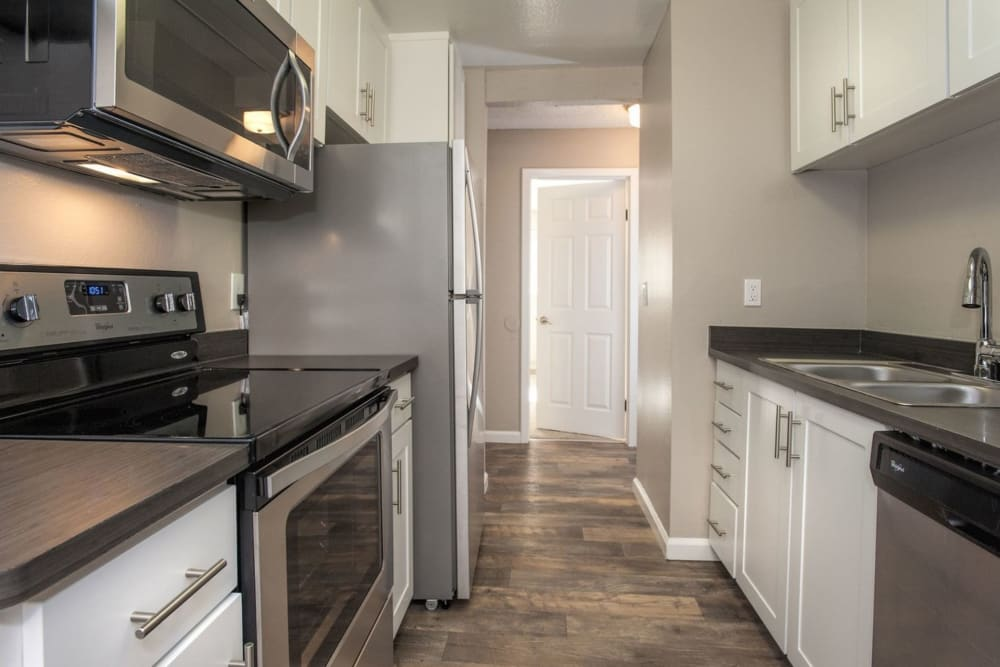 Beautiful, gourmet kitchen in a model home at Cross Pointe Apartment Homes in Antioch, California