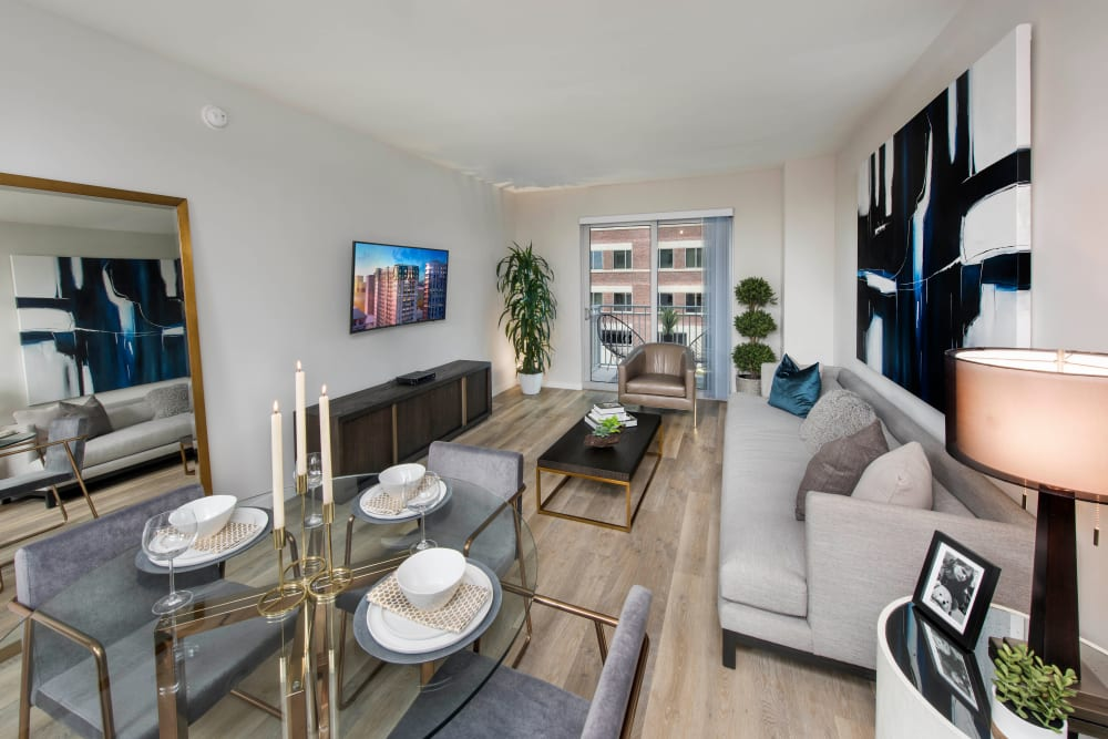 Well-furnished model luxury apartment's living area at Olympus Harbour Island in Tampa, Florida