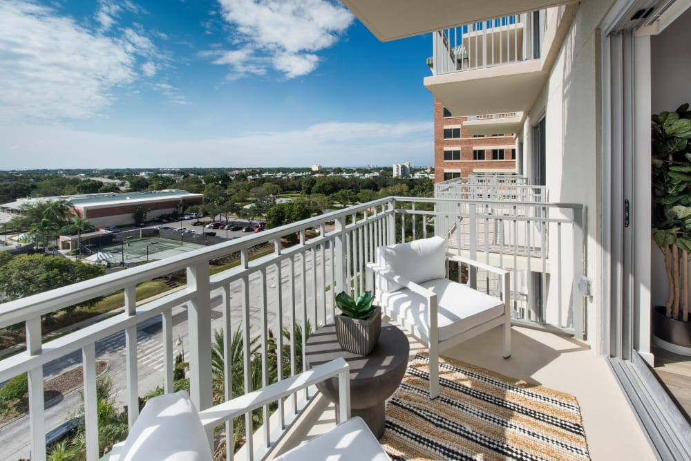 Model luxury home's private balcony with an amazing view of the city at Olympus Harbour Island in Tampa, Florida