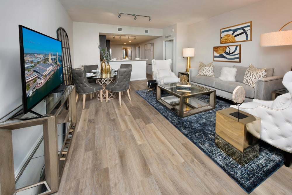 Well-furnished open-concept living area in a model home at Olympus Harbour Island in Tampa, Florida