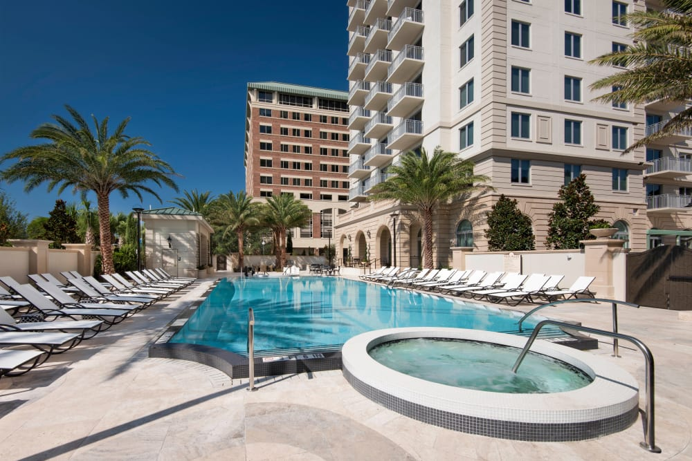 Beautiful morning at the resort-style swimming pool at Olympus Harbour Island in Tampa, Florida