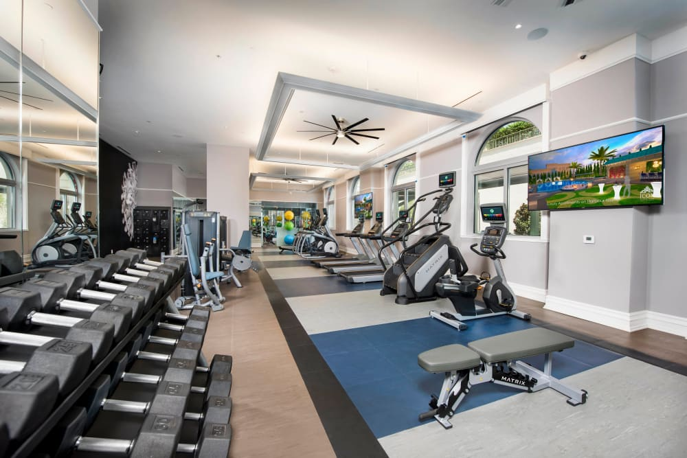 Very well-equipped onsite fitness center at Olympus Harbour Island in Tampa, Florida