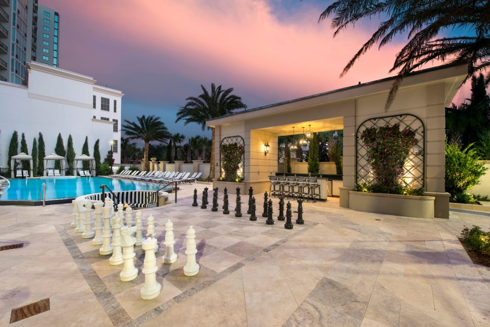 Dusk at the life-size chess board at Olympus Harbour Island in Tampa, Florida