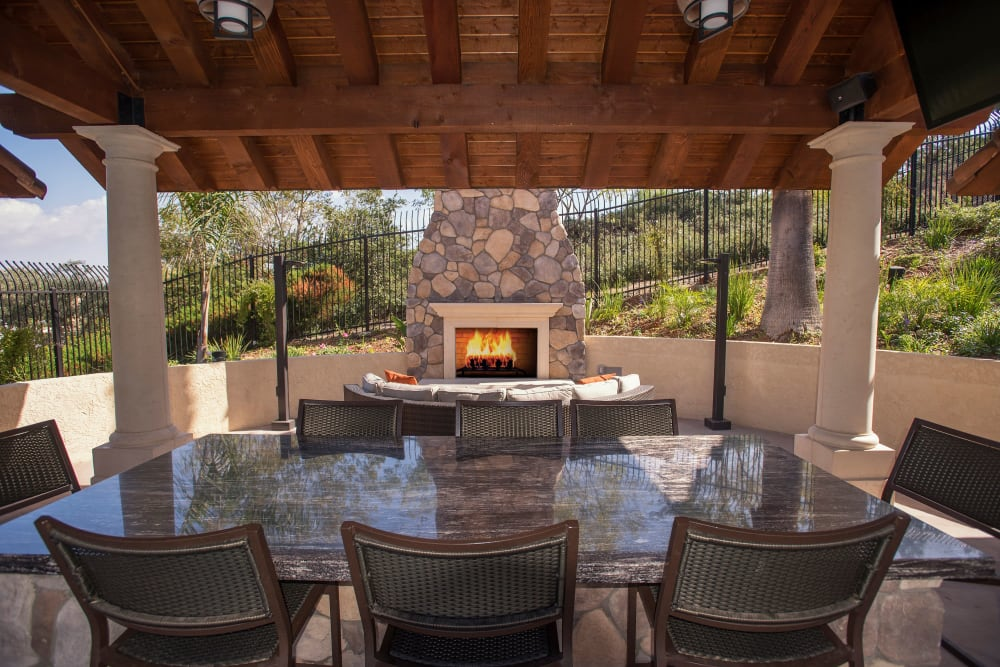 Cabana with seating for entertaining guests at Shadow Ridge Apartment Homes in Simi Valley, California