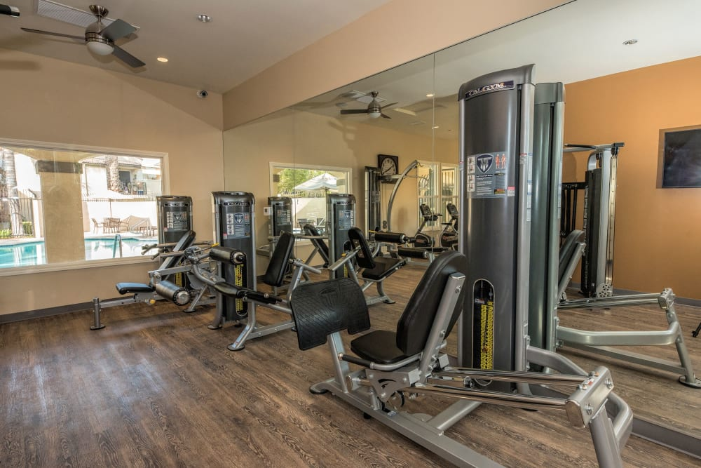 Fitness center with ceiling fans at Shadow Ridge Apartment Homes in Simi Valley, California