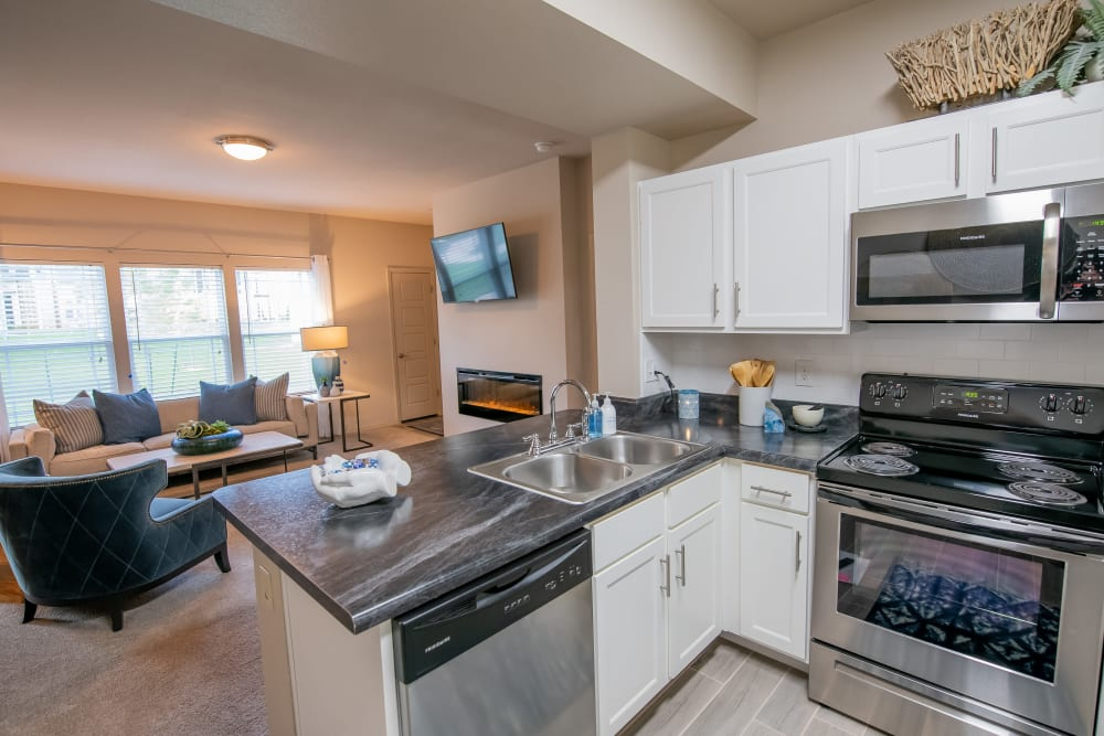 Stainless-steel kitchen appliances at Bend at New Road Apartments in Waco, Texas